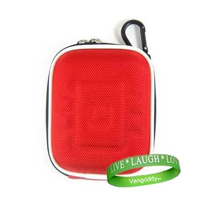 Ruby Red Hard Protector Carrying Case for Polaroid DVF-130 USB Camcorder + VG Wrist Band