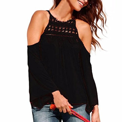 Womens Hollow Out Lace Tops Long Sleeve Casual Loose Cotton Tops T Shirt S-3XL