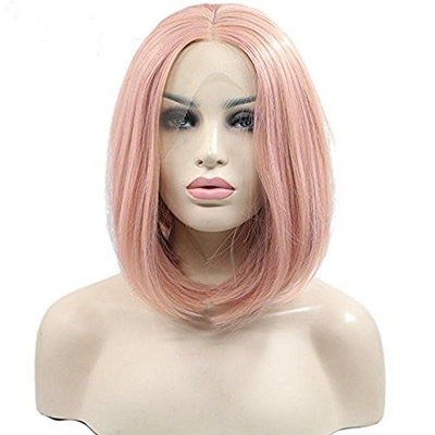 Women's Short Bob Lace Front Wigs For Women Straight Pink Orange Mix Color Synthetic Wig Heat Resistant Fiber Hair Half Hand Tied 8 inches
