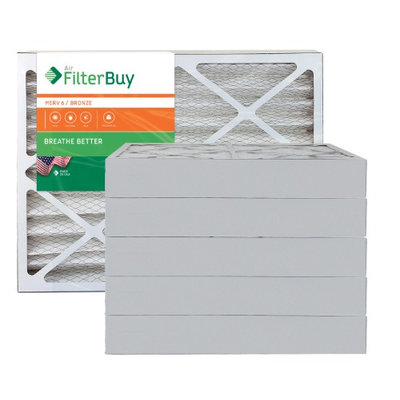 AFB Bronze MERV 6 18x25x4 Pleated AC Furnace Air Filter. Filters. 100% produced in the USA. (Pack of 6)