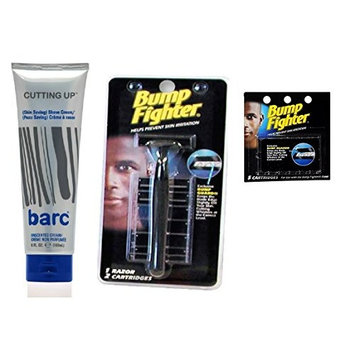 Barc Cutting Up, Unscented Shave Cream, 6 Oz + Bump Fighter Razor for Men + Bump Fighter Cartridge Refill, 5 Ct + FREE Curad Bandages 8 Ct.
