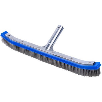 Pooline Products Curved Pool Brush with Aluminum Back and Handle, SS Bristles