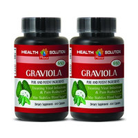 Antiviral supplement - PREMIUM GRAVIOLA EXTRACT 650 Mg - Graviola healthy cell support - 2 Bottles 200 Capsules