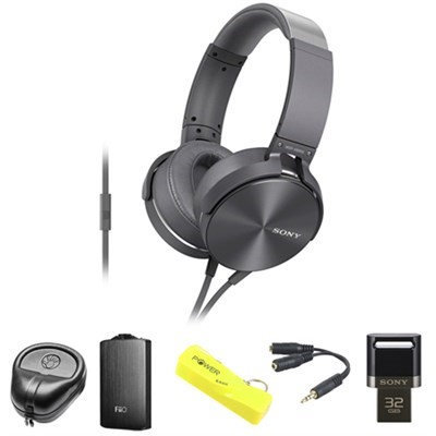 Sony Full-Size Silver Headphones w/ Extra Bass - MDRXB950AP/H w/ FiiO A3 Amp. Bundle