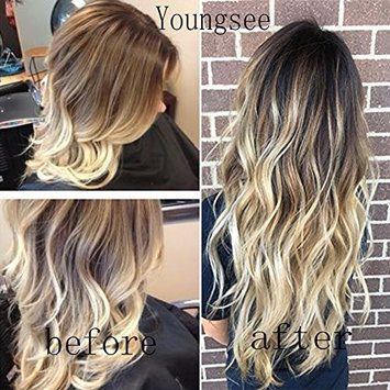 Youngsee 14inch 7Pcs Clip in Extensions Remy Hair Full Head Dark Brown Mix Bleach Blonde Hair Extensions Clip Real Human Hair 7pcs 120g []
