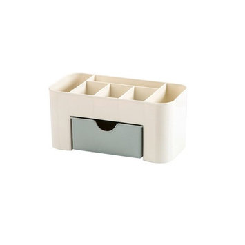 Plastic Bathroom Shower Makeup Skincare Organizer Case Wall-mounted Basket Holder With Drawer (C)