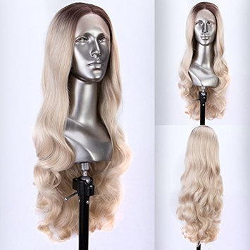 Persephone Glueless Ombre Blonde Lace Front Wig Wavy with Brown Roots 2 Tones Synthetic Wavy Wigs Blonde for Women 24 Inches