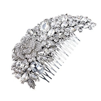 ROSENICE Bridal Hair Comb Clip Crystal Rhinestone Flower Hair Pin (Silver)