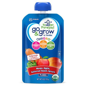 Abbott Laboratories,abbn7 Go & Grow by Similac Fruit and Veggie Pouches with OptiGRO, Mango, Apple, Butternut Squash, Spinach Puree, For Toddlers, Organic Baby Food, 4 oz (Pack of 6)