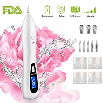 Mole Remover Pen, Skin Tag Removal Tool Kit Pro with USB Rechargeable 9 Levels, Portable Professional Electric Beauty Pen for Body Facial Freckle Nevus Warts Age Dark Spot Tattoo (White)