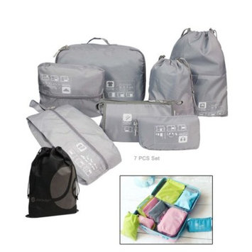 JAVOedge 7 Piece Full Luggage / Packing / Storage Set with Shoe Bag, Drawstring Bags, and Toiletry Bag