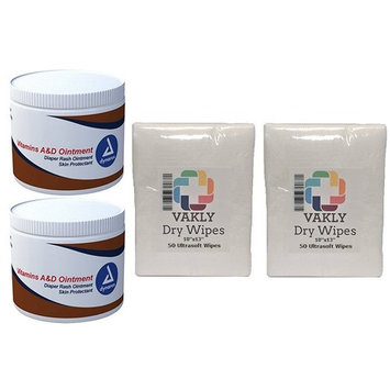 2 Pack A & D Ointment - 15 oz Jars - Plus 2 Packs of 50 Vakly Dry Wipes (2 Jars + 100 Wipes)
