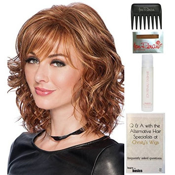 Bundle - 5 Items: Tousled Bob Wig by Hairdo, Christy's Wigs Q & A Booklet, 2oz Travel Size Wig Shampoo, Wig Cap & Wide Tooth Comb - Color: R10