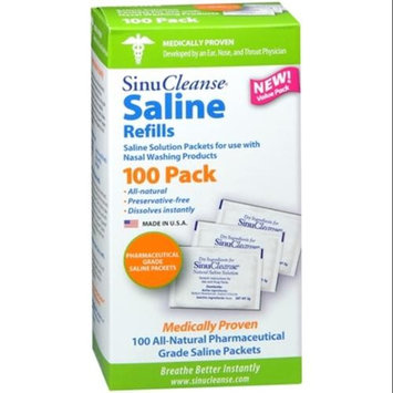 Sinu Cleanse Saline Nasal Care Refills, 100 Count (Pack of 2)