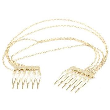 GAMT Metal Chain Tassel Hair Side Combs Gold 5pcs/Set