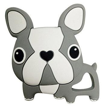 Per Baby Teether Bulldog Shape Teething Pendant(Without Rope) Biting Toys BPA Free Gutta Pertscha Gum Massager for Newborns Babies-Gray