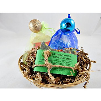 Holiday Season Handmade Soap Gift Set Featuring Three Uniquely Scented Soaps in One Gift Basket