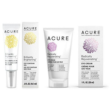Acure Organics Brilliantly Brightening Eye Contour Gel and Eye Cream Bundle For Puffiness, Dark Circles, Lines, Wrinkles and Aging, With Aloe Vera, Hibiscus and Witch Hazel, 1 and 0.5 Ounce