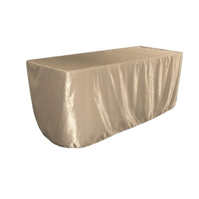 LA Linen TCbridal-fit-72x24x30-TaupeB13 Fitted Bridal Satin Tablecloth Taupe - 72 x 24 x 30 in.