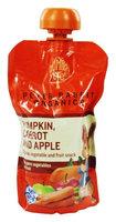 Peter Rabbit Organics - Veg and Fruit Puree 100% Pumpkin Carrot and Apple - 4.4 oz(pack of 6)