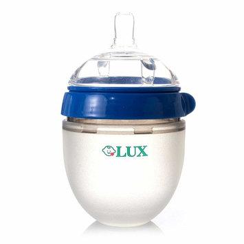 Baby Breastfeeding Nature Bottle by LUX – Slow Flow Newborn Feeding Bottle – BPA-Free Anti-Bacterial Silicone – No Leak & No Waste Smart Design – Easy Transition – 5oz Slow Flow Nipple (Blue)