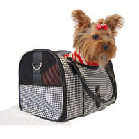 Anima Black White Houondstooth Carrier Mesh Window For Pet Dog Cat - Medium