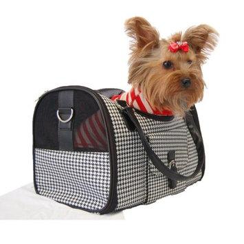 Anima Black White Houondstooth Carrier Mesh Window For Pet Dog Cat - Medium