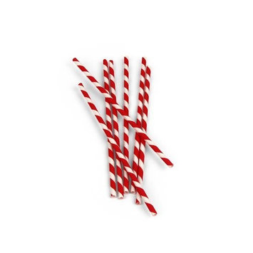 Kikkerland Biodegradable Paper Straws, Red and White Striped, Box of 144 [Red and White]