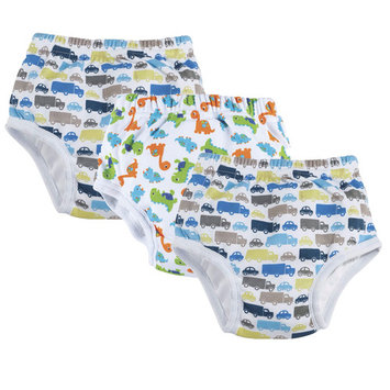 One Step Ahead Boys Potty Training Pants - White, Gray and Blue Dinosaur and Transportation Design - Waterproof Slim Underwear 3-Pack