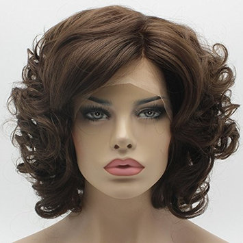 Lace Front Synthetic Wig Short Wavy Two Tone Brown Mix Wig Heat Friendly Heavy Density Stylish Wig
