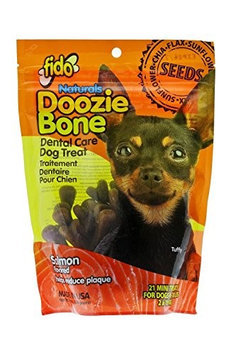 Fido Naturals Doozie Bone - Dental Care Dog Treat, Salmon Flavored, 21ct (Mini Treats)