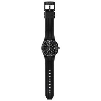 TECHNOMARINE MEN'S 46mm BLACK SILICONE BAND STEEL CASE QUARTZ WATCH 115056