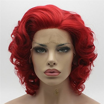 Lushy short Red Wig Heat Friendly Heavy Density Synthetic Lace Front Wig