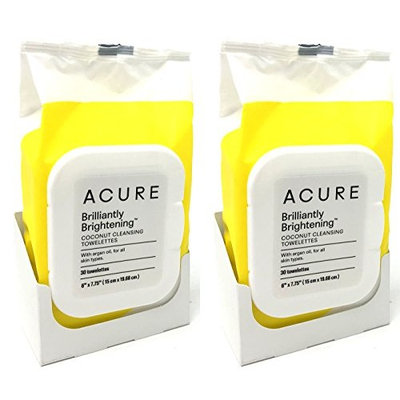 Acure Coconut + Argan Oil Cleansing Towelettes for Face and Body Pack of 2 (60 Towelettes Total)