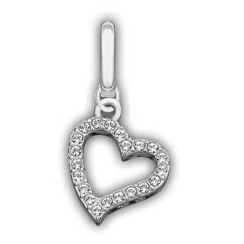 Swarovski Clear Crystal Jewelry LOVE Charm Red Reverse Side Rhodium #973756