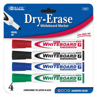 Bazic Products Bazic Assorted Color Chisel Tip Dry-erase Markers (4/pack)