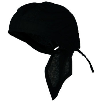 BLACK Doo Rag Durag Chemo Headwrap Solid Color Bandana Cotton Skull Cap for Men Women