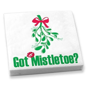 5 Inch Square Got Mistletoe? Holiday Beverage Napkins, Green