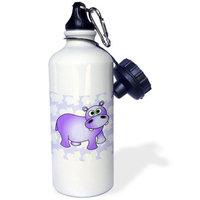 3dRose Pretty Purple Hippopotamus Cute Hippo, Sports Water Bottle, 21oz