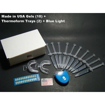 Cool Teeth Whitening Kit 44% with 10 Syringes of Gel - (10) 3cc 44% Gel Syringes - 2 Trays - 1 Accelerator Blue LED Light - Shade Guide - Instructions Manual - Sealed Retail Box By Cool Teeth Whitening ™