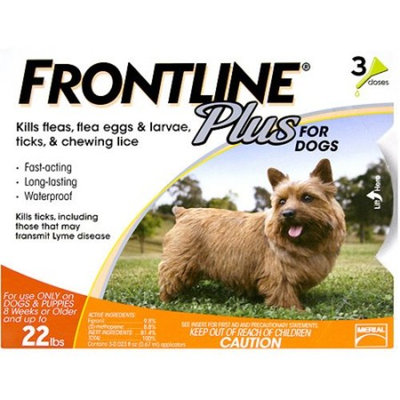 Frontline Plus For Small Dogs up to 22lbs - 3 Pack - 3 Month Supply