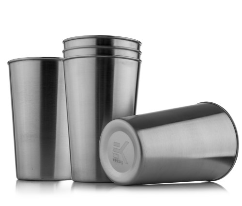 Eekay Wares Eco-friendly, Unbreakable, BPA free, Stainless-Steel, Stackable Pint Cup Tumblers - Perfect for BBQs. Camping, Parties - 16oz- Pack of 5