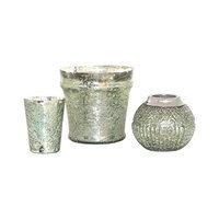 Pomeroy Baroness Mint Mercury Glass 3 Piece Votive Set