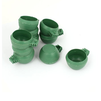 Uxcell 10pcs Green Plastic 4cm Dia Hamster Parrot Bird Food Water Feeder Cup Bowl