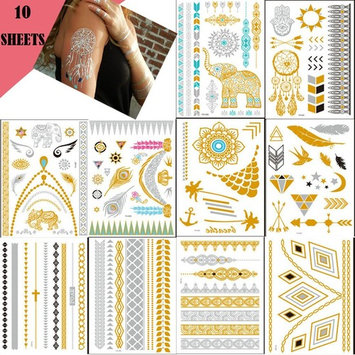 Lookathot 10 Sheets Temporary Tattoo Stickers DIY- Metallic Tattoos Paper Gold Silver Black Turquoise Removable Waterproof Sweat Resistant Long Lasting Fake Jewelry Body Decals