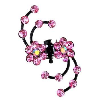 AENMIL S Shape Modeling Plum Small Gripper Hair Clip Korean Style Cute princess Amethyst Diamond Hairpin Bride Plate Made Head Ornaments - Pink