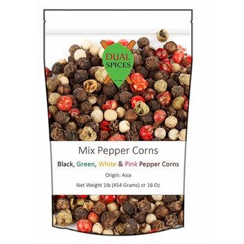 Dualspices Premium Grade Mix Peppercorns 1 Pound Bulk Price Supreme Quality Whole Green, White, Pink