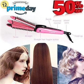 [GREAT GIFT FOR YOU] 3 in 1 Multifunction Professional Hair Straightener Curling Irons Straightening Corrugation Hair Waver Styling Tools Hair Styler Hair Curler: Beauty