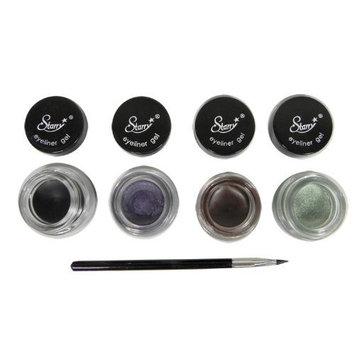 4 Starry Long Lasting Waterproof Eyeliner Gel Black Asphalt, Brown, Violet and Iguana Green by Sparkling Beauty