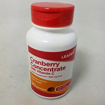 Leader Cranberry Concentrate With Vitamin C Softgels 90 Count per Bottle (4 Pack)